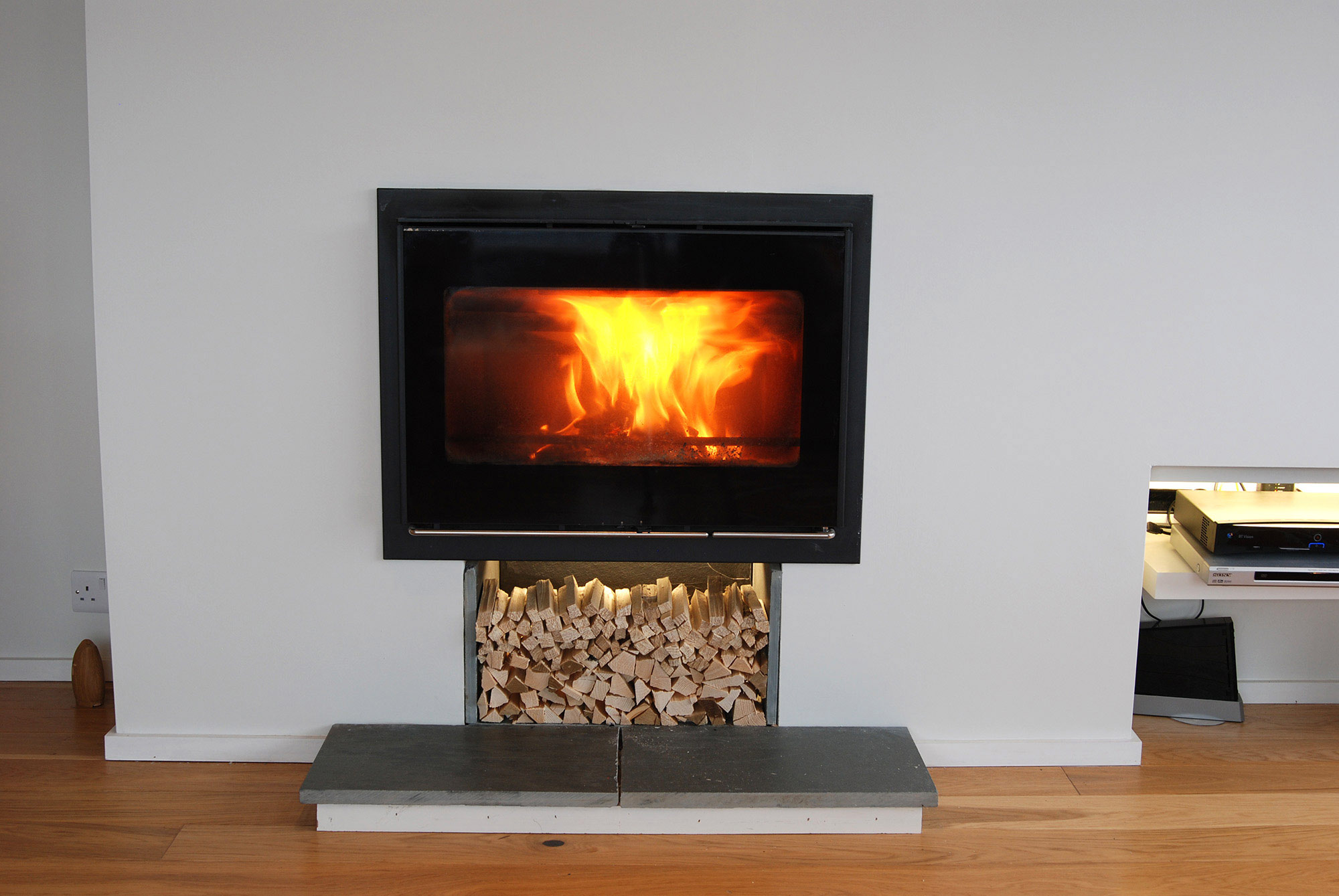 Building Modernization at Gwelanmor fireplace